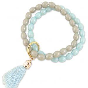 LIZAS Armband Gold Quaste Braun Hellblau Boho-Style Perlen