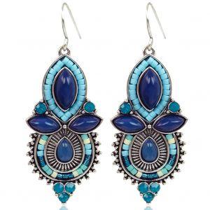 Boho Ohrringe Silber mit blauen Steinen und Besatz von NOBEL SCHMUCK