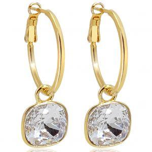 Gold Creolen Charm Anhänger Swarovski® Kristalle Ohrringe 925 Sterling NOBEL SCHMUCK