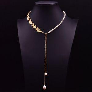 Perlenkette gold Süsswasserperlen modernes Design von NOBEL SCHMUCK