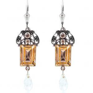 Jugendstil Ohrringe mit Kristalle von Swarovski® Silber Light Peach NOBEL SCHMUCK