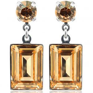 Ohrringe mit Kristallen von Swarovski® Silber Pfirsich NOBEL SCHMUCK