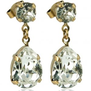 Nobel Ohrstecker Gold mit Tropfenanhänger Kristall Damen-Ohrringe