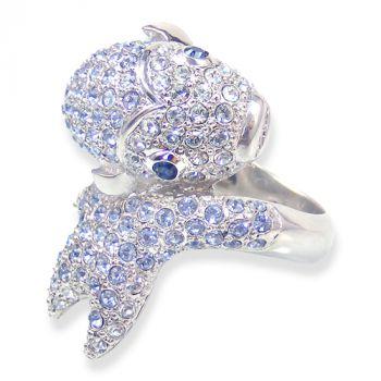 Damen-Ring Fisch mit Kristallen von Swarovski® Gr. 57 Silber Blau NOBEL SCHMUCK
