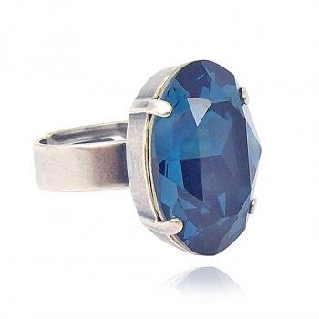 Ring mit Kristall von Swarovski® Blau Silber Variabel verstellbar NOBEL SCHMUCK