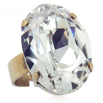 Ring mit Kristall von Swarovski® Gold Viele Farben Verstellbar  NOBEL SCHMUCK