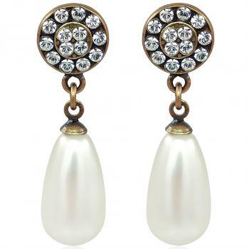 Perlenohrringe mit Kristallen von Swarovski® Gold Viele Farben NOBEL SCHMUCK