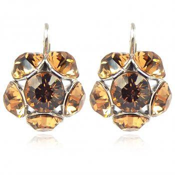 Silber Ohrringe mit Kristallen von Swarovski® Ohrhänger kurz Braun NOBEL SCHMUCK