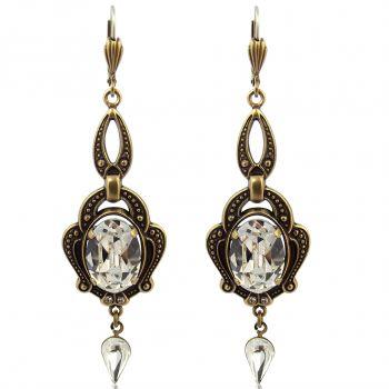 Jugendstil Ohrringe mit Kristallen von Swarovski® Gold NOBEL SCHMUCK