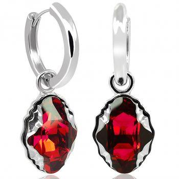 Silber Creolen Kristalle von Swarovski® 925 Sterling Silber Rot NOBEL SCHMUCK