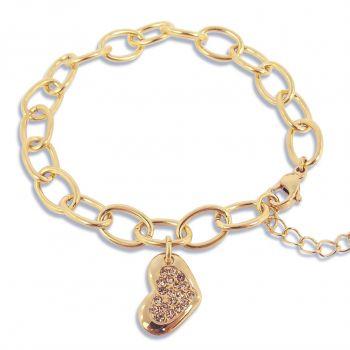 Bettelarmband Armband Herz mit Markenkristallen Gold NOBEL SCHMUCK