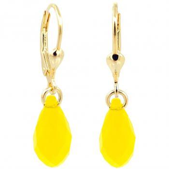 Ohrringe Gold Gelb Tropfen Swarovski® Kristalle 925 Sterling Silber NOBEL SCHMUCK