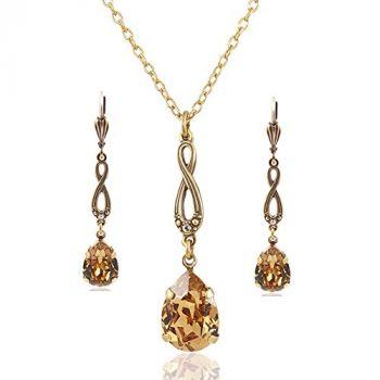 Schmuckset mit Kristallen von Swarovski® Braun Gold Kette und Ohrringe NOBEL SCHMUCK