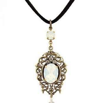 Jugendstil Kette mit Kristalle von Swarovski® Gold White Opal NOBEL SCHMUCK
