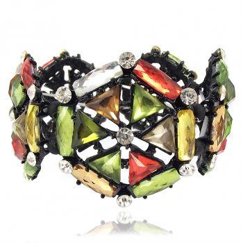 Armband Kristall Schwarz Grün Mulitcolor Breit Statement-Armband - PONG PONG