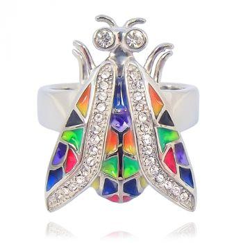 Damen-Ring Silber Falter Gr. 57 mit Kristallen von Swarovski® Schmetterling NOBEL SCHMUCK