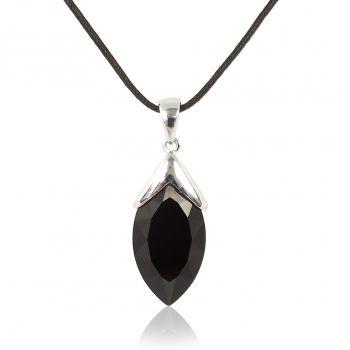 Damen-Kette Halskette mit Kristalle von Swarovski® Silber Schwarz NOBEL SCHMUCK