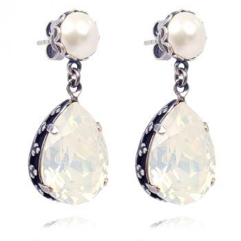 Jugendstil Ohrringe mit Kristalle von Swarovski® Silber White Opal NOBEL SCHMUCK