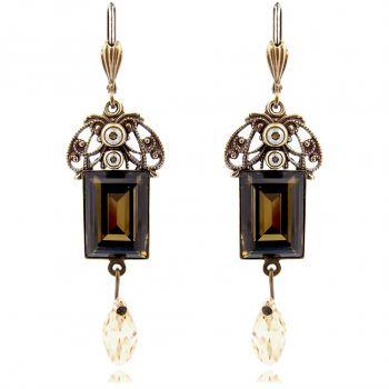 Jugendstil Ohrringe mit Kristallen von Swarovski® Braun Gold NOBEL SCHMUCK