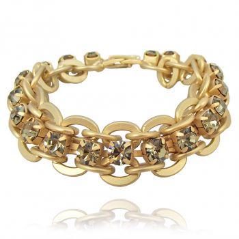 NOBEL SCHMUCK Damen-Armband Gold mit Kristallen von Swarovski® - Breit Modern