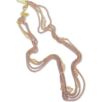 Kette Kristalle von Swarovski® Gold Pfirsich Mehrreihig NOBEL SCHMUCK
