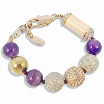 Damen-Armband Gold Lila Amethyst mit Kristallen von Swarovski® NOBEL SCHMUCK