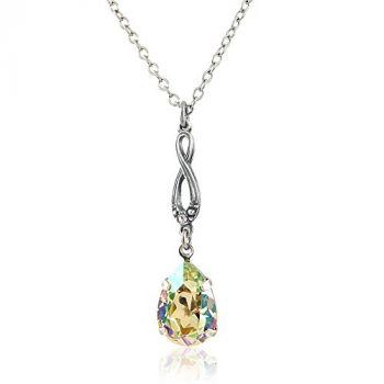 Jugendstil Kette mit Kristalle von Swarovski® Silber Grün Gelb NOBEL SCHMUCK