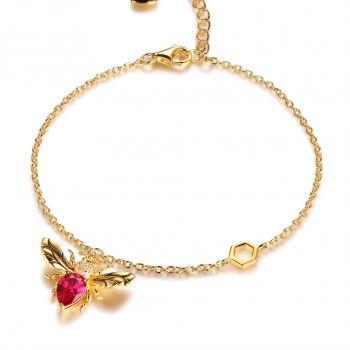 Armband Biene Gold 925 Sterling Silber vergoldet Zirkon NOBEL SCHMUCK