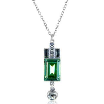 Artdeco Kette Silber Grün mit Kristallen von Swarovski® Erinite NOBEL SCHMUCK