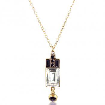 Goldene Art Deco Halskette mit Kristallen von Swarovski® Damen NOBEL SCHMUCK
