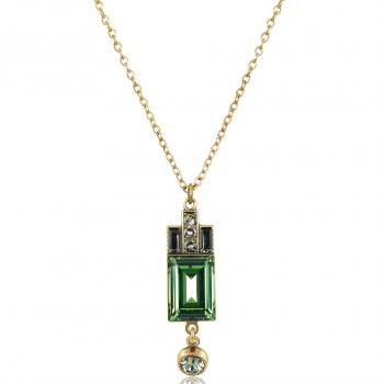 Art Deco Kette Gold Grün mit Kristallen von Swarovski® Damen NOBEL SCHMUCK