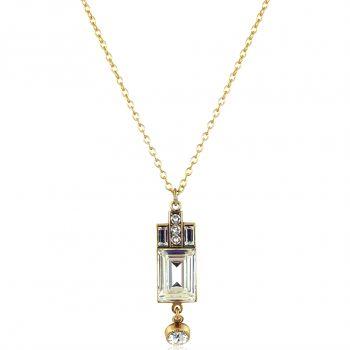 Art Deco Halskette Gold mit Kristallen von Swarovski® Damen NOBEL SCHMUCK