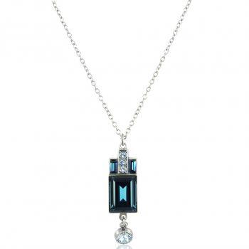 Artdeco Halskette Silber Blau mit Kristallen von Swarovski® NOBEL SCHMUCK