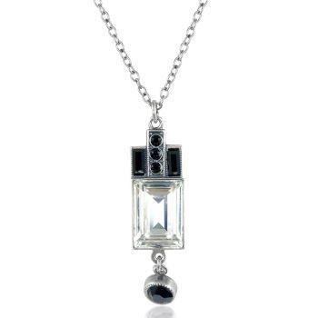 Artdeco Kette Silber Schwarz Weiß mit Kristallen von Swarovski® Jet Crystal NOBEL SCHMUCK