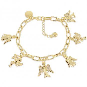 Bettelarmband Armband Schutzengel Kristalle von Swarovski® Gold NOBEL SCHMUCK