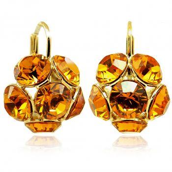NOBEL SCHMUCK Ohrringe mit Kristallen von Swarovski® Blüten Gold VIELE FARBEN