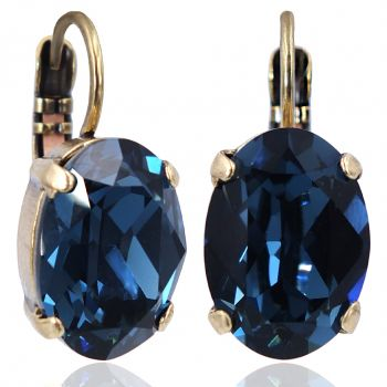 Kristall-Ohrringe Gold Montana Blau Klappverschluss NOBEL SCHMUCK