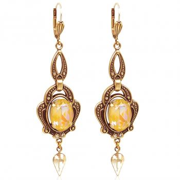 Statement Ohrringe Gold Jugendstil mit Kristallen von Swarovski® NOBEL SCHMUCK