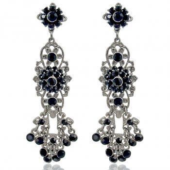 Chandelier Ohrringe mit Kristallen von Swarovski® Silber Schwarz NOBEL SCHMUCK