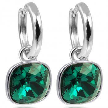 Silber-Creolen Charm Anhänger Grün Markenkristallen Ohrringe 925 Sterling NOBEL SCHMUCK