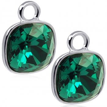 Charm Anhänger 2 Stück 925 Sterling Silber Grün für Creolen Swarovski Kristalle NOBEL SCHMUCK®