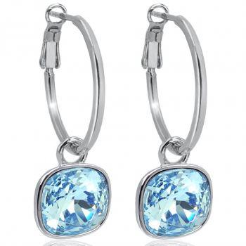 Silber-Creolen 925 Sterling Silver Anhänger Blau mit Markenkristallen Ohrringe NOBEL SCHMUCK