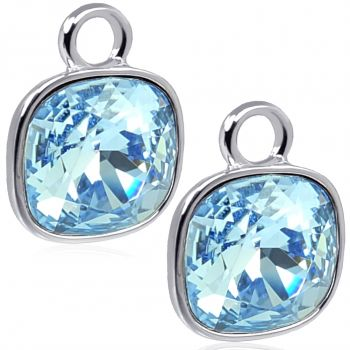 Charm Anhänger 2 Stück 925 Sterling Silber Blau für Creolen Swarovski Kristalle NOBEL SCHMUCK®