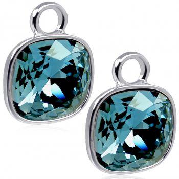 Charm Anhänger 2 Stück 925 Sterling Silber Denim Blue für Creolen Swarovski Kristalle NOBEL SCHMUCK®