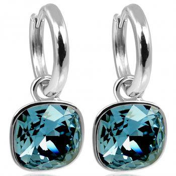 Silber-Creolen Charm Anhänger Blau Markenkristallen Ohrringe 925 Sterling NOBEL SCHMUCK