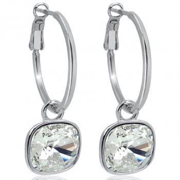 Silber-Creolen 925 Sterling mit Charm Anhänger Kristall Ohrringe NOBEL SCHMUCK