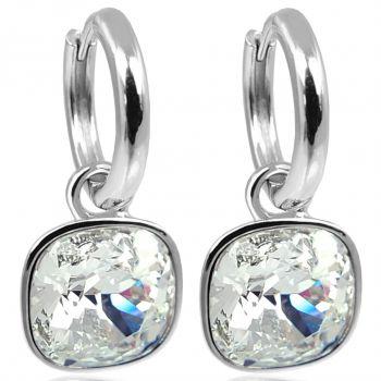 Silber-Creolen Charm Anhänger Markenkristallen Ohrringe 925 Sterling NOBEL SCHMUCK