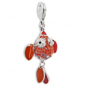 Charm Fisch mit Kristalle von Swarovski® Silber Rot NOBEL SCHMUCK