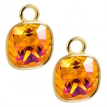 Charm Anhänger 2 Stück Gold 925 Sterling Silber für Creolen Markenkristalle Orange NOBEL SCHMUCK®