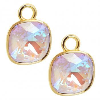 Charm Anhänger 2 Stück Gold 925 Sterling Silber Violett für Creolen Markenkristalle NOBEL SCHMUCK®
